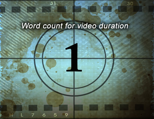 Word count for video duration
